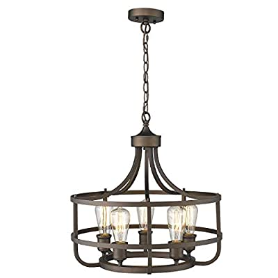Zeyu 5-Light Industrial Round Chandelier, 20 Inch Farmhouse Kitchen Pendant Light for Dining Room, Oil Rubbed Bronze Finish, 9808-5P-R ORB