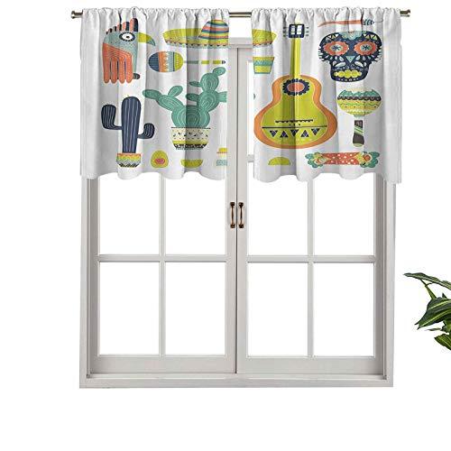 Hiiiman Cortinas cortas opacas con símbolos de bolsillo para barra de México, cara de guitarra azteca, máscara tequila, juego de 1, cenefas pequeñas de media ventana de 91,4 x 45,7 cm para cocina