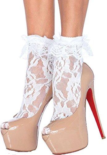 Leg Avenue Damen Nylonsöckchen Weiß mit Rüsche und Spitze mit Blumenmuster Einheitsgröße 36 bis 40