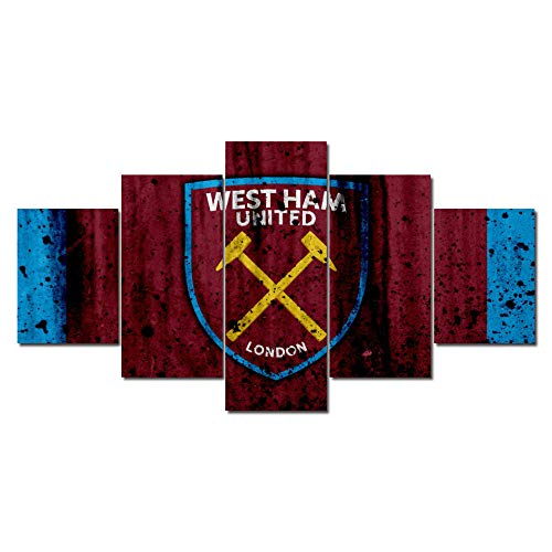6Lv5Panel West Ham football club Team Logo canvas prints Home Decoration Poster 5 Panel/piece canvas prints wall art With frame-200 * 100cm Xmas Gift