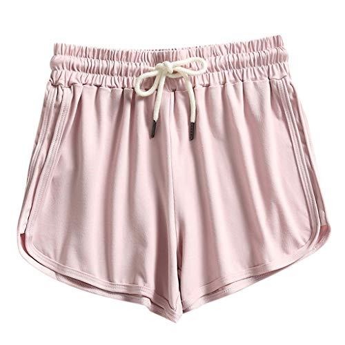 Andouy Damen Einfarbig Yogahose Pyjama Shorts Kurze Badeshorts mit Elastischen Bund und Taschen(L.Rosa)