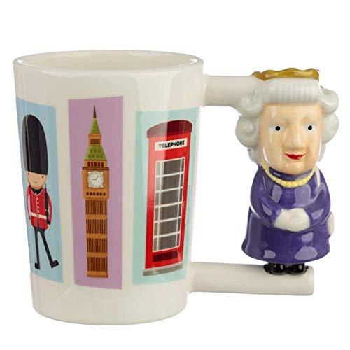 Tasse mit englischer Queen als Griff, 350 ml, Tasse aus Keramik als Kaffeetasse/Kaffeebecher für Englandfans, Durchmesser: 9 cm, Höhe: 11 cm, Keramik. originelles Geschenk