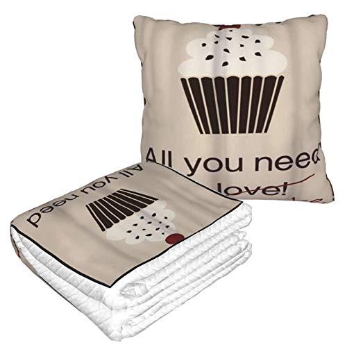 XINGAKA Manta de Viaje súper Suave,Cupcakes Tarjeta Panadería Vintage Concepto Alimentos Cereza Encima,Manta Plegable,Almohada cómoda