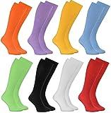 Rainbow Socks - Hombre Mujer Calcetines Largos Sin Elásticos - 8 Pares - Colores Claros - Talla UE 39-41