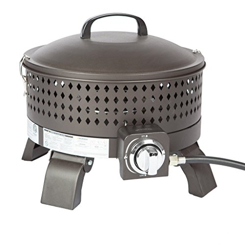 Fire Sense Sporty Campfire Portable 15 Inch Gas Steel Fire Pit | Mocha Finish | 60,000 BTU Output | Uses 20 Pound Propane Tank | Removable Lid with Clamps, Regulator, 5 Foot Hose, and Lava Rock
