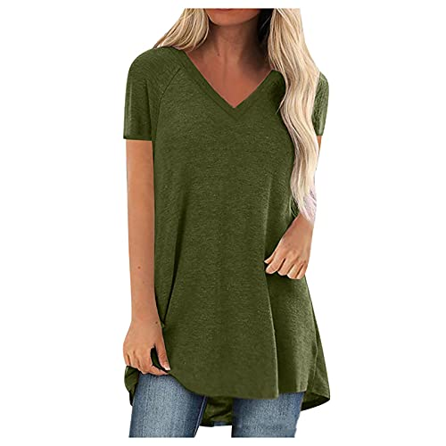 FMYONF Camiseta de verano para mujer, de un solo color, suelta, informal, cuello redondo, manga corta, camiseta deportiva, casual, oversize irregular B-verde. L