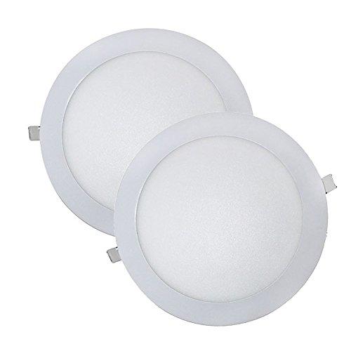 Wonderlamp W-E000045 - Juego 2 Downlight LED Extraplano Redondo, Iluminacion 18W (1480 lm), 6000K (Luz Fr?a), Blanco, Diametro de 22.5 cm, Grosor 1 cm
