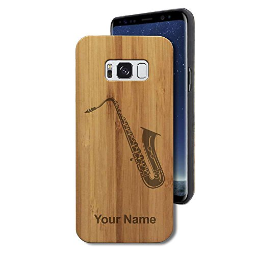 Bamboo Case for Galaxy S8+ Plus - Saxophone - Personalized Engraving Included