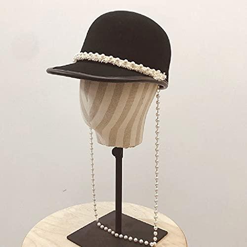 NJZYB Collana lunga perle Collana Cappellino in lana Donne Giovane ragazza Baseball Outdoor Cappellino Inverno Spring Newsboy Cap Visor Hat (Color : Black, Size : Adjustable)