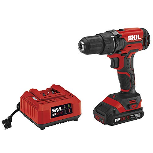 Skil 20V 1/2 Inch Cordless Drill Driver, Includes 2.0Ah PWRCore 20 Lithium Battery...