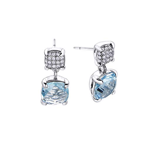Pendientes de Durán Exquse de la colección Tubogas realizado en plata 925 topacio azul
