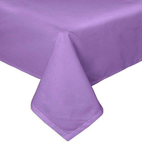 Homescapes Tischdecke lila unifarben 140 x 230 cm aus 100% reiner Baumwolle, Tischtuch waschbar