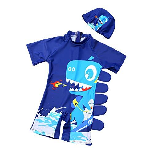 Fenverk Baby- / Kleinkinder-Badebekleidung 2er Set,Junge EIN stück Kurzärmel-Kleidung Badeanzug,Kinder Jungen Bademode Einteiler Schützend Schwimmanzug mit Sonnenhut(Dunkelblau,2-3 Jahre)