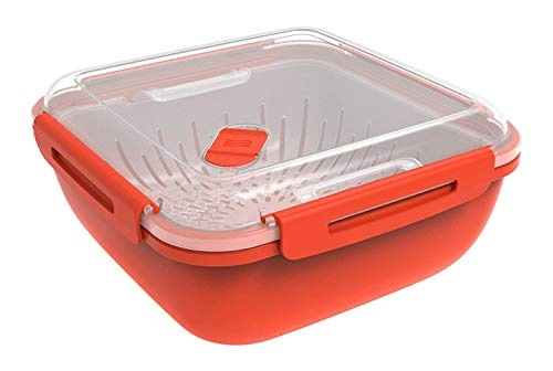 Rotho Memory Microwave Dampfgarer 1.7 l, Kunststoff (BPA-frei), rot, 1,7 Liter (19,5 x 19,5 x 9,1 cm)