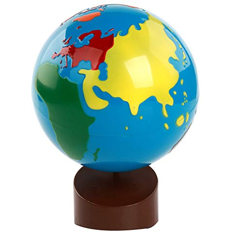 Globe terrestre de Carte du Monde de 7 Pouces, matériel de géographie de Montessori - Globe de pièces du Monde pour Enfants Jouets d'apprentissage précoce Cadeau,Colored