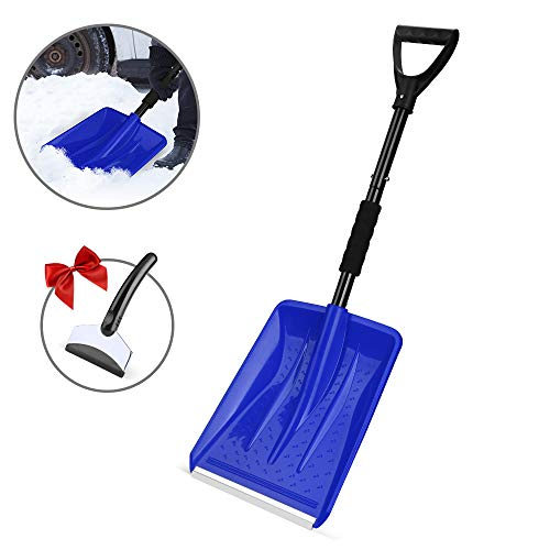 Eventronic Snow Shovel Detachable Snow Shovel with Durable Aluminum Edge Blade DGrip Handle Portable for Emergency Car Camping Home Blue with a Gift Snow Scraper