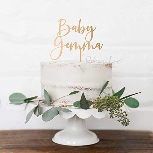 Te koop! Baby Douche Cake Topper, Baby Naam Cake Topper, Naam Cake Topper, Gepersonaliseerde Cake Topper, Baby Cake Topper, Gouden Cake Topper