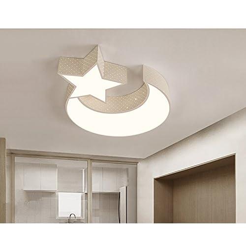 LYXG Lampada da soffitto Led luci ragazzi e ragazze Luna stelle creative camera da letto studio luce bambini arte luce di lampade in ferro (550mm*70mm), White Box 3 Dimmer a colori