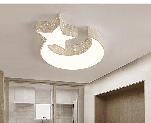 LYXG Luces LED lámpara de techo de niños y niñas Luna estrellas dormitorio estudio creativo luz niños arte luz de lámparas de hierro (550mm*70mm), White Box 3 Atenuador de color