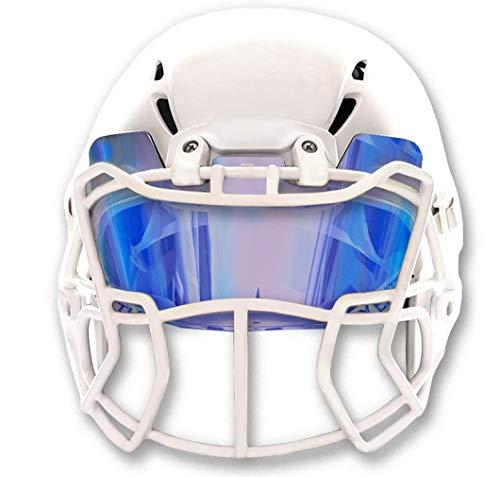 EliteTek Farbiges Fußballvisier für Helme, getönt, passend für Kinder, Jugendliche, Erwachsene, Schutz vor Augen, Pokes, Transparenter, Blauer Saphir, ohne Aufkleber.