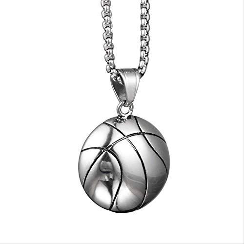 VAWAA Hip Hop Personalidad Moda Tendencia Half Basketball Colgante Collares de Acero Titanio Collar Colgante Adornos para Hombres Mujeres