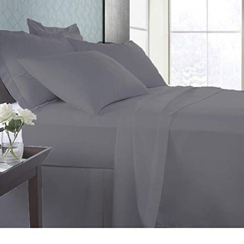 Linen Sheets FADE RESISTANT Premium Quality 600 Thread Count 100% Egyptian cotton sheet set with 15' Deep Pocket Breathable Ultra-Soft FEEL LUXURIOUS WITH COMFORTABLE SLEEPING (Full, Elephant Grey)