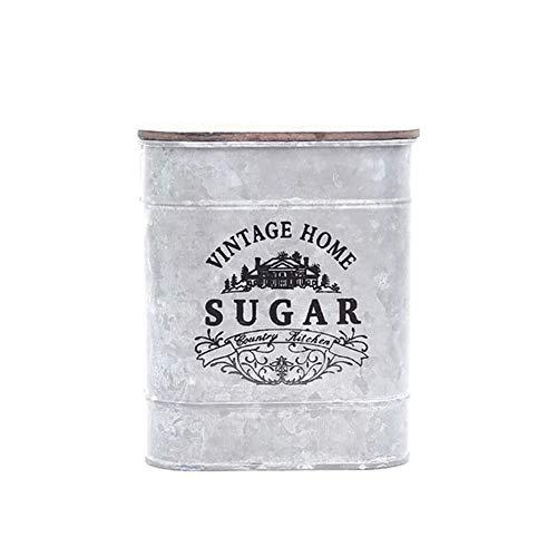 Botes de almacenamiento, Té, café condimento joyería caja del metal de la vendimia Plaza caramelo de la baratija de estaño caja de almacenamiento con cubierta de madera Latas (Color : Sugar)