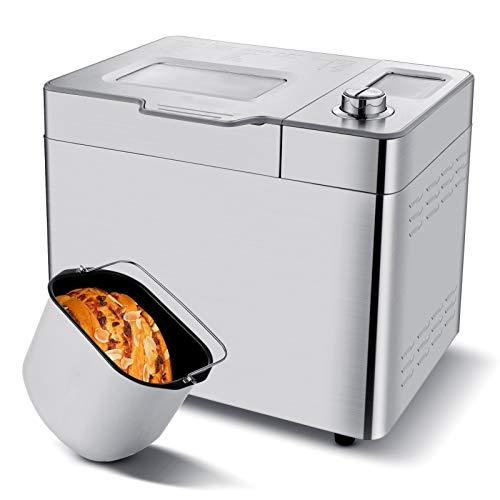 Nictemaw Automatischer Brotbackautomat, 25 Programme, Kapazität 500 g / 750 g / 900 g, LCD, programmierbar für Brotbackautomat, 13 h Timer, für Brot, Glutenfrei, Kekse, Teig und Marmelade