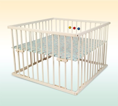 Kidsmax Laufgitter Laufstall David 100x100 weiß lackiert inkl. Holzkugeln, Polsterboden, Schlupfsprossen, Höhenverstellung und Rollen