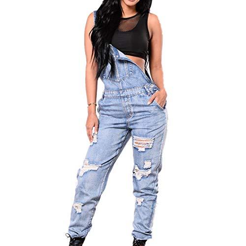 Odot Damen Latzhose Jeans, Taschen Playsuit Lange Hosen Sexy Casual Breite Beine Hosen Loose Denim Baggy Spielanzug Latzjeans Jumpsuit Overalls (L,Blau)