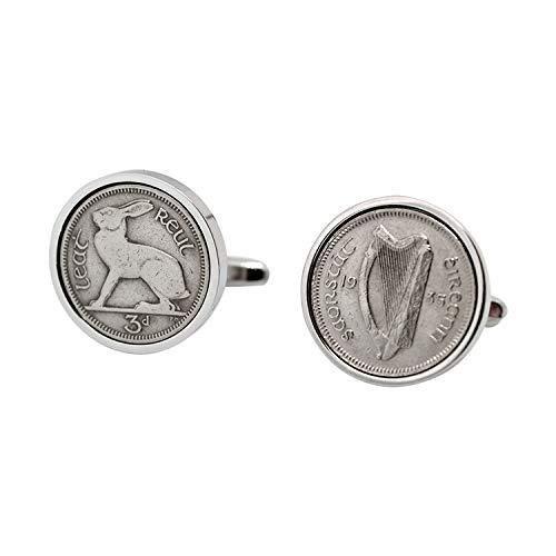 Cadeau de 80e anniversaire 1934 - Irlandais véritable monnaie Boutons de manchette Boutons de manchette Sixpence Irlande 1934