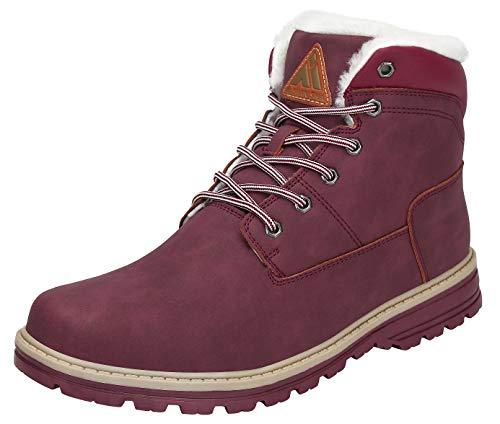 Mishansha Winterschuhe Damen Stiefel Warm Gefüttert Boots Männer Winter Schuhe Wasserdicht Arbeitsstiefel Outdoor Schneestiefel Rot Gr.38 EU