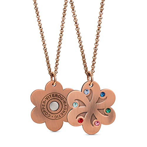 VITEROU Designed Magnetic Pure Copper Therapy Necklace with Colorful Crystal Flower Pendant Pain Relief for Neck Arthritis Migraine Headaches Shoulders and Back,3500 Gauss