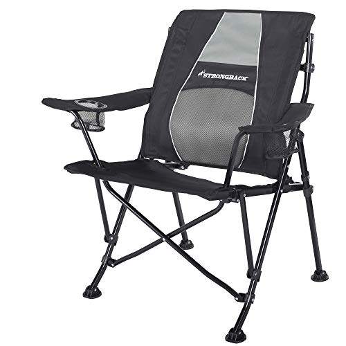 STRONGBACK Guru Folding Camp Chair with Lumbar Support, Black/Grey, 2.0 (NEW for...