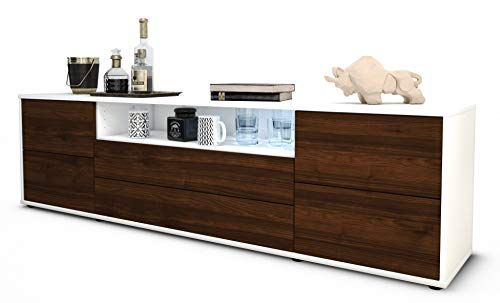 Stil.Zeit TV Schrank Lowboard Aurora, Korpus in Weiss matt/Front im Holz-Design Walnuss (180x49x35cm), mit Push-to-Open Technik und hochwertigen Leichtlaufschienen, Made in Germany