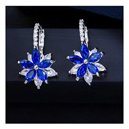 ZAIZAI Pendientes de tuerca de circonitas, fáciles de llevar, con flores geométricas milticolor, para mujer, joyería de moda (color: 4)