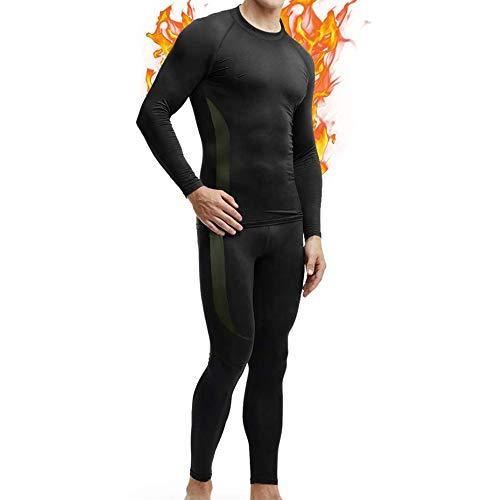 RIOJOY Thermal Underwear for Men Cold Weather Mens Shirts Long John Thermal Set Sport Soft Compression Fleece Base Layer Men Cold Weather Ski Shirt, 01# A-Black Large