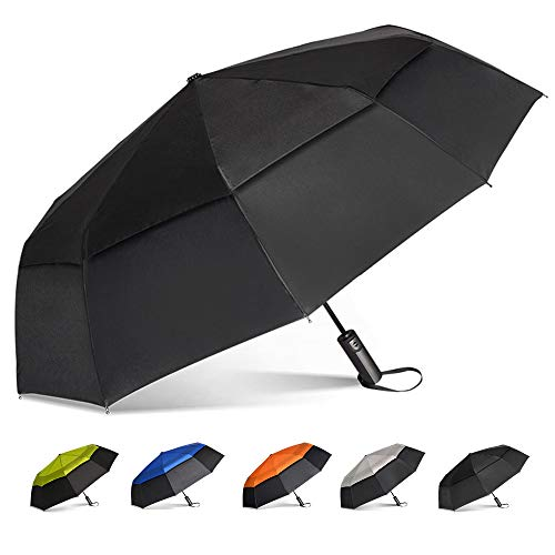 Brainstorming Large Travel Umbrella Windproof Compact Golf Umbrella Double Canopy Vented Automatic Open Rain Umbrella for Women Men, 47inch (Black& Black)