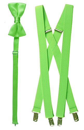 "Bow Tie and Suspender Set Combo in Men's & Kids Sizes (25"" Toddler, Lime Green)"