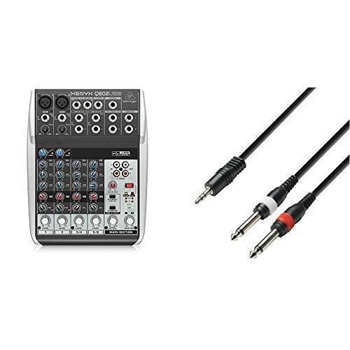 Mezclador USB de 8 Canales + Adam Hall Cables K3YWPP0300 - Cable de Audio (Conector 3.5 mm estéreo a 2 Conectores 6.3 mm Mono, Longitud 3 m)