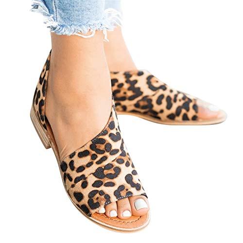 2019 Sandalias De Vestir Para Mujer, Zapatos De Tacón Cuadrado Bajo De Leopardo Sexy Zapatillas Sin Cordones Hebillas Peep-Toe Zapatos Casual De Playa Vacasiones De Verano Primavera(Marron, 38