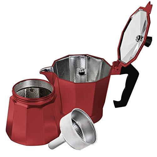Innova Premium STEAM Stovetop Espresso Maker | Italian Moka, Coffee Percolator, Brewing Pot | Octagonal Design, Aluminium Steel, Insulated Handle | Good for 6 Cups 300ml - 10oz (Red)