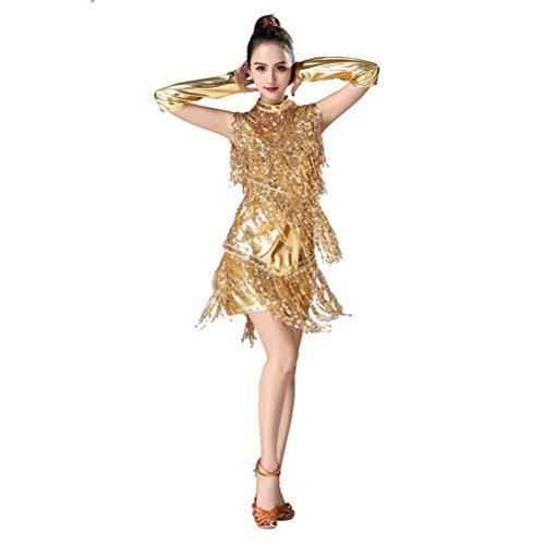 JEELINBORE Femme Robe à Frange Costume de Danse Latine Femme sans Manche Soirée Déguisement + Choker + Gants Clubwear - Or (Gloves+Choker), CN L