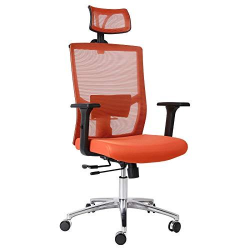 FIXKIT Bürostuhl, Ergonomisch Schreibtischstuhl, Mesh Computerstuhl mit Einstellbare Kopfstütze Armlehnen, Höhenverstellung und Wippfunktion, Tragkraft bis 150kg (Orange)