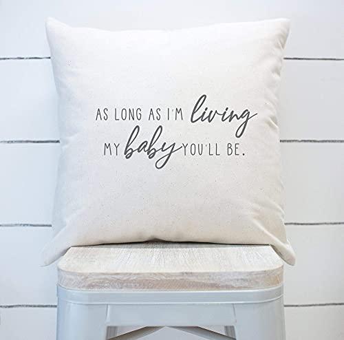 Mientras yo Sea mi bebé, tú serás Funda de Almohada Almohada de guardería Funda de cojín de Lona de algodón Funda de Almohada Decorativa, 16