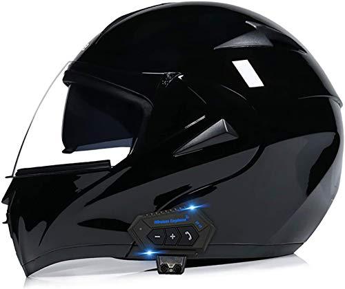 Feeyond Casco Bluetooth para motocicleta, modular tipo flip-tipo doble visera completa, casco certificado DOT, sistema integrado de comunicación de intercomunicación, G y L