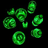 DIY Party Light-up Cups, Light Sticker, Adhesive LED Coaster for Glow Party, House Party - Colorful Lights to Wine Glass, Beer Bottle, Mug for Birthday, Neon Party, Rave, Festival (Neon Green 7pcs)