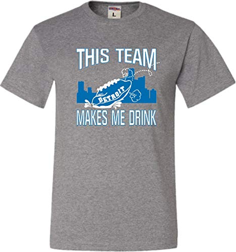 Go All Out XX-Large Oxford Adult This Team Makes Me Drink Funny Football Detroit T-Shirt