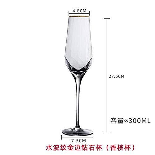 Tgbyhnujm Wijnglas in diamantvorm, kristalglas, loodvrij, champagneglazen, waterglazen, retroglas, wijnglas, barglas, 300 ml, 1 stuk