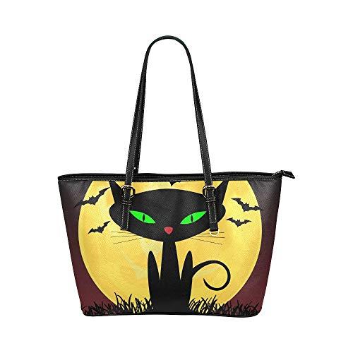 Schwarze Katze-Hexen für Halloween große weiche Leder tragbare Top Hand Totes Taschen kausalen Handtaschen mit Reißverschluss Schulter Einkaufstasche Geldbeutel Organizer für Lady Girls Womens Work